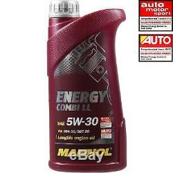 6L MANNOL 5W-30 Break Ll + Mann Filtre Luft Pour VW Caddy III Boîte 1.9 Tdi