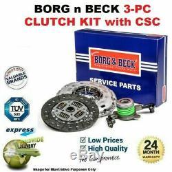 Borg N Beck 3PC Kit Embrayage avec Csc pour VW Golf Break 2.0 Tdi 4motion 2013