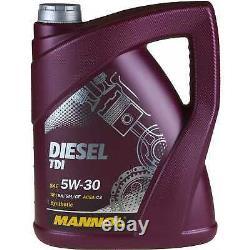 Huile moteur 5L MANNOL Diesel Tdi 5W-30 + Mann-Filter VW Golf Plus 5M1 521 1.4