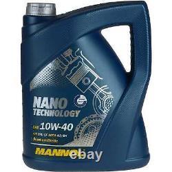 MANNOL 5 L Nano Tech 10W-40 huile moteur+MANN-FILTER pour Audi A3 8L1 1.9 TDI