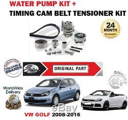 Pour VW Golf 1.6 2.0 Tdi 16v 2008-2016 Kit Courroie Distribution et Pompe Eau