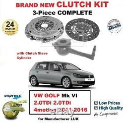 Pour VW Golf Mk VI 2.0TDi 4motion 2011-2016 Neuf 3 Pièces Kit D'em Brayage avec