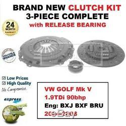 Pour VW Golf Mk V 1.9TDi 90bhp Moteur Bxj Bxf Bru 2004-2008 Neuf 3PC Clutch Kit