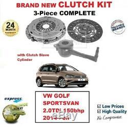 Pour VW Golf Sportsvan 2.0TDi 150bhp 2014- Neuf 3-PC Embrayage Kit avec Csc