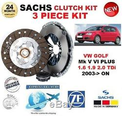 Pour VW Golf V VI Plus 1.6 1.9 2.0 Tdi 2003- Sachs 3 Pièce Neuf Kit Embrayage