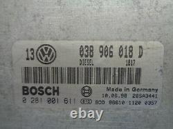 Vw Golf 4 1.9 Tdi Kit Calculateur Moteur 0281001611 038 906 018 D 038906018d